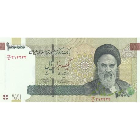 جفت 100000 ریال حسینی - بهمنی - نوشته نخ 100000 و آرم بانک مرکزی