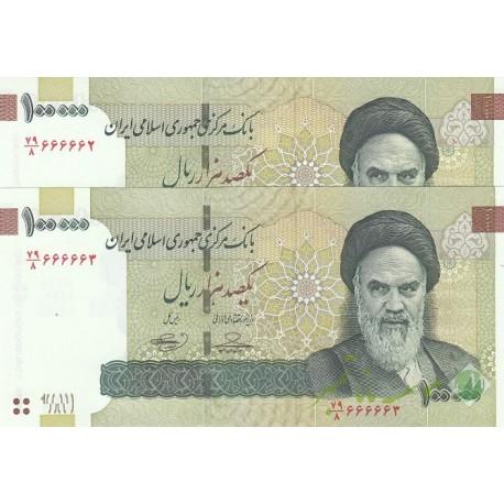 جفت 100000 ریال (شماره نیمه رند) حسینی - بهمنی