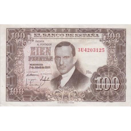 100 پزو اسپانیا 1953 (فوق العاده تمیز)